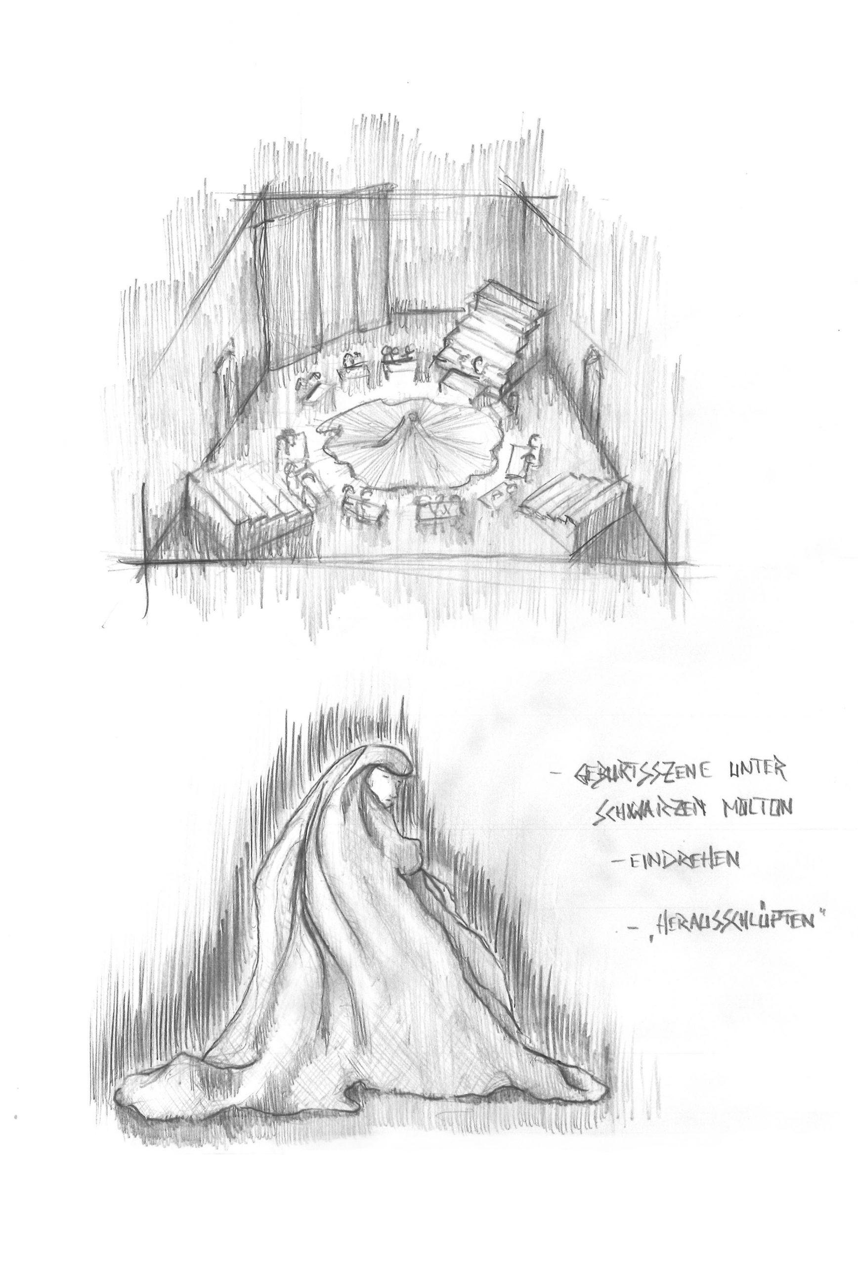 Projekt Parzival Zeichnung Arena / Geburt